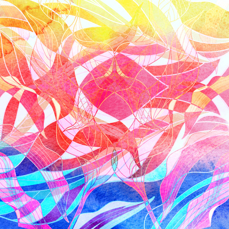 interesting: Bright colorful watercolor pattern of various interesting elements