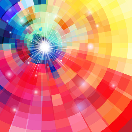 Abstract bright colorful kaleidoscope background with luminous stars