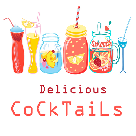 Bright colored cocktails on a white background Illustration