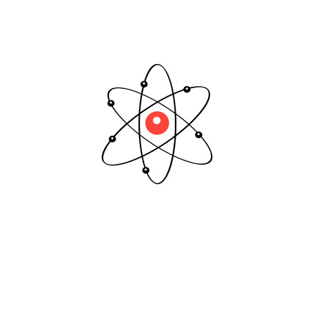 protons: atom sign isolated on white background