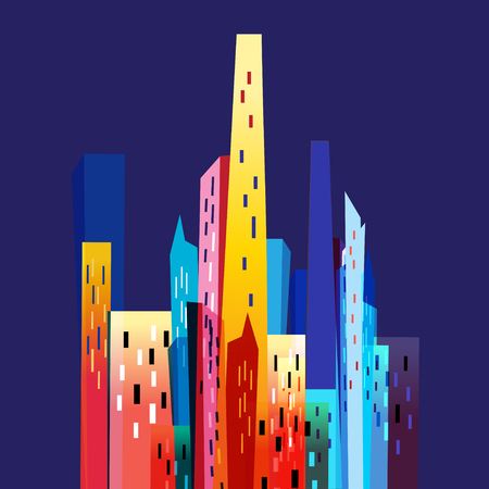 appearance: Bright colorful city on a blue background Illustration