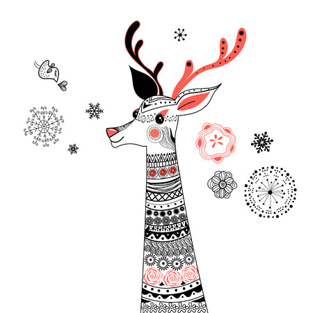 Graphic portrait of ornamental deer on a white background Illustration