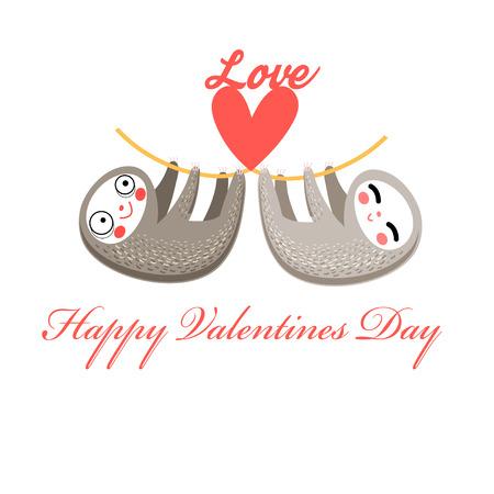 Lovers funny sloth on a white background Reklamní fotografie - 64913695