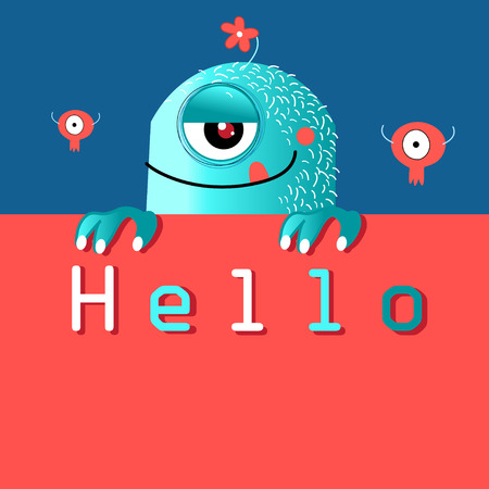 Funny miracle monster graphics on bright background