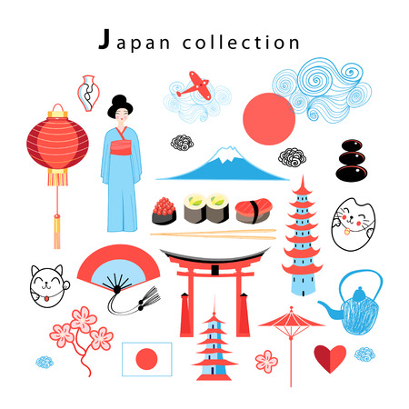 Vector graphic set Japan on a white background Illustration