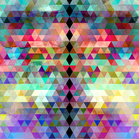 reiteration: Watercolor abstract geometric colorful background of triangles for design Stock Photo