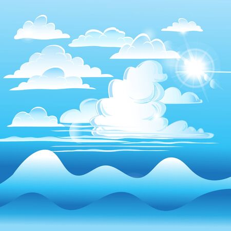 Vector Bright blue sky with white clouds and mountains