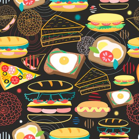 Seamless vector pattern of different sandwiches on a dark background