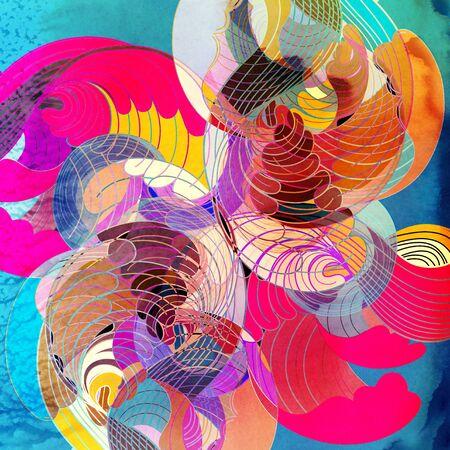 aquarelle lumineuse colorée rétro modèle avec des éléments abstraits