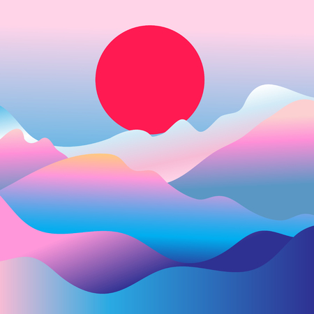 Wonderful vector mountain landscape with the sun