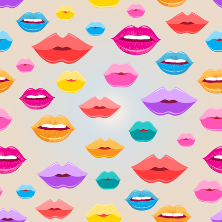 reproduce: Bright pattern of colored lips on a light background