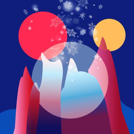 Fantastic color vector landscape with two suns Иллюстрация