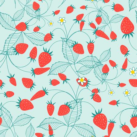 Bright tasty strawberry pattern on a light background