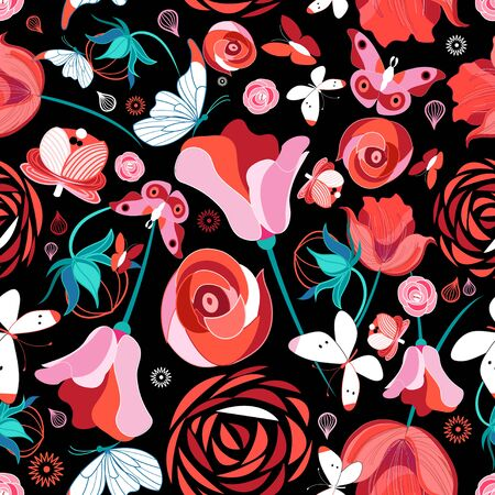 Seamless bright pattern with flowers and  on dark Stock Illustratie