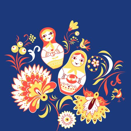 Russian decorative background with flowers and dolls