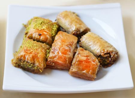 baklava: Photo macro colorful delicious honey Turkish baklava Stock Photo