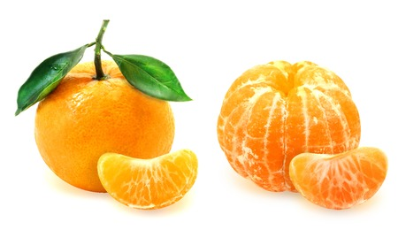Bright photo mandarin with segments on a white background