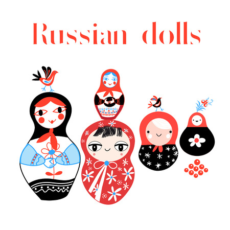 muñecas rusas: Vector set of Russian dolls on a white background