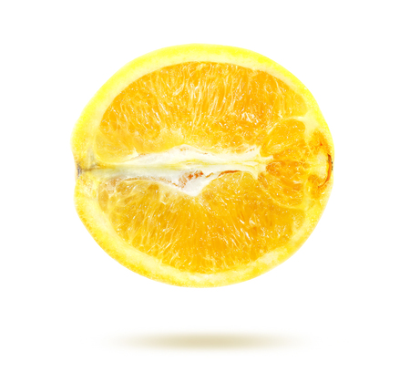 raw materials: Bright photo lemon in a cut isolated on white background