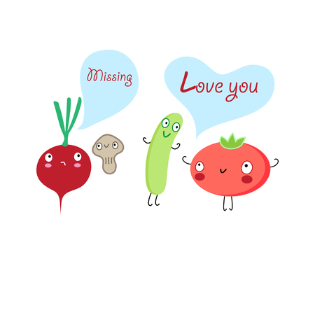 Funny vegetables lovers on a white background