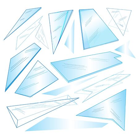hob: Vector set of different transparent glass on a white background