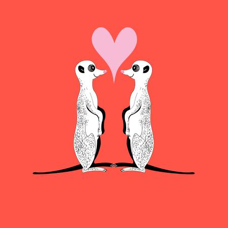 Vector funny meerkats in love with heart
