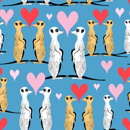 Seamless pattern of funny meerkat lovers on a blue background