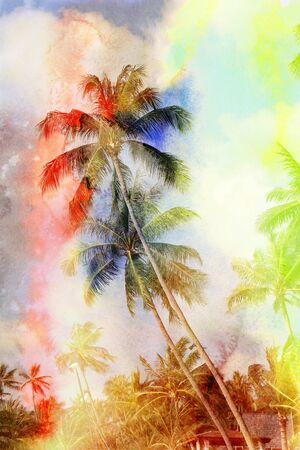vague: Retro photo of palm trees on a tropical island Stock Photo