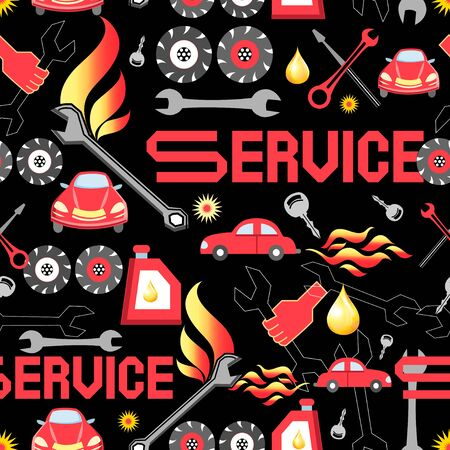 machine parts: Seamless pattern of various machine parts service Illustration