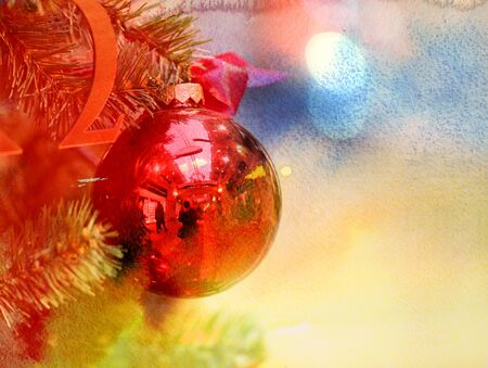 red christmas ball: Photo winter background bright and beautiful Christmas balls