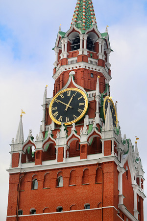 spassky: Photos bright Spasskaya Tower in the Moscow Kremlin Stock Photo