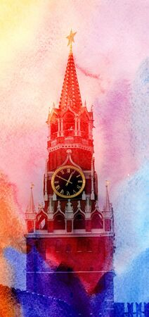Photos bright Spasskaya Tower in the Moscow Kremlin Stock Photo