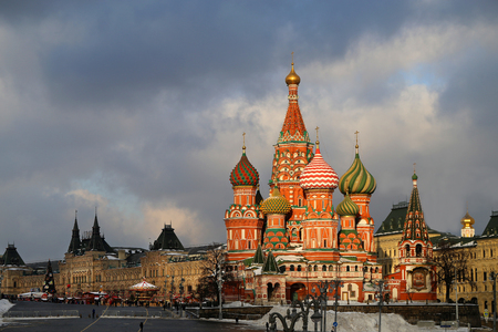 Photos bright beautiful St Basils Cathedral in the Moscow Kremlin