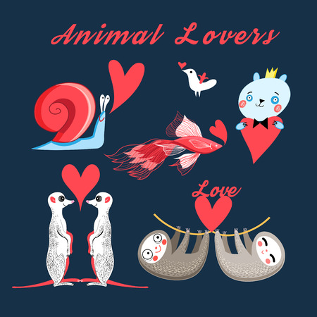 Graphics festive set of animal lovers on a dark background Illustration