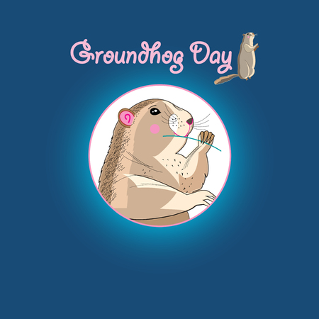 Bright fun graphics card for Groundhog Day Illustration