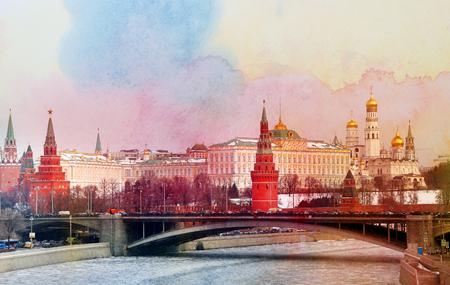 Photo retro Moscow Kremlin Stock Photo