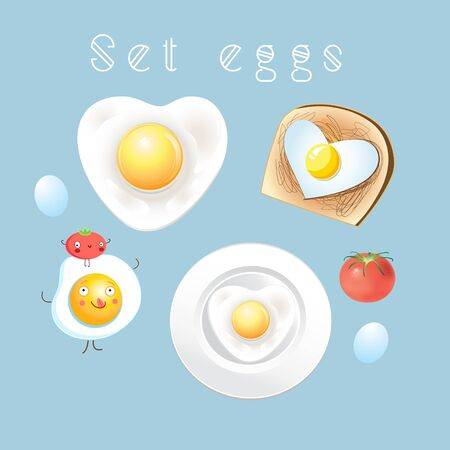 tasteful: Graphic set of different tasty scrambled eggs on a light background Illustration