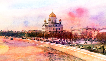 Photos winter landscape with the church of Christ the Savior