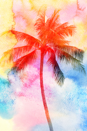Retro photo of palm trees on a tropical island Stock Photo