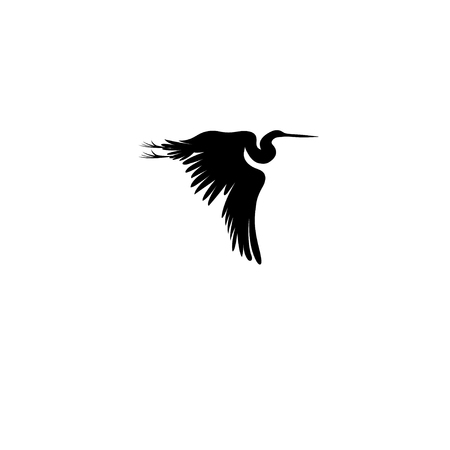 Graphic sign of a flying heron on a white background