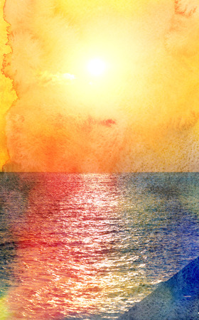 Photo wonderful beautiful sunset on the sea island Reklamní fotografie
