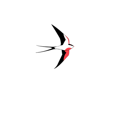 Symbol of a swallow flying in a white background