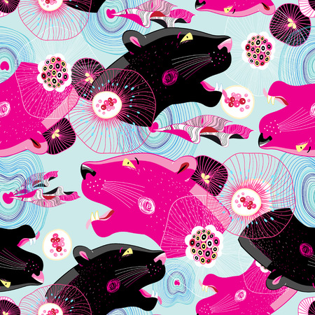 Magnificent fashionable pattern with abstractions and panther heads