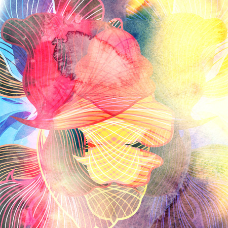 Abstract bright colorful background with different wavy elements