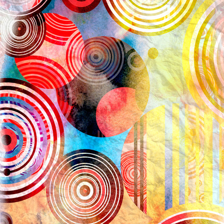 Abstract watercolor interesting graphic background with different elements