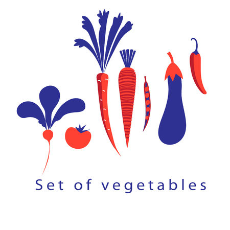 Graphic set of different vegetables on a white background Illustration