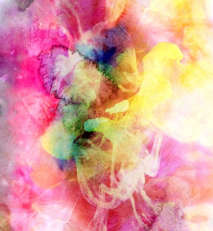 Abstract watercolor multicolored background with blurred drops and paints