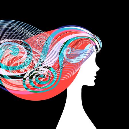 理髪店のバナーに巻き毛を持つ女性のシルエット。  イラスト・ベクター素材