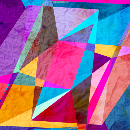 Watercolor abstract colorful background with geometry elements. Background for design template. Foto de archivo