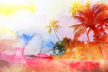 Retro photo of palm trees on a tropical island Фото со стока